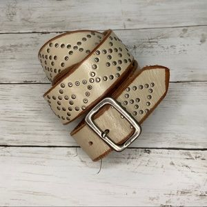 •EXPRESS• Beige Studded Leather Belt